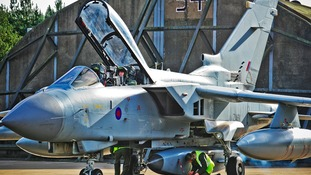 The Tornado reconnaissance aircraft prepares for take off