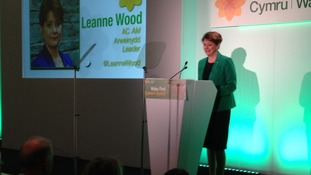 Plaid Cymru leader Leanne Wood delivering her conference speech