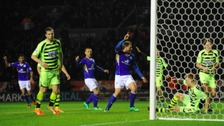 Chris Wood heads in Leicester City's equaliser