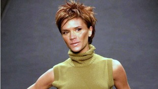 Victoria Beckham makes her catwalk debut for designer Maria Grachvogel's Autumn/Winter 2000 Collection.