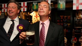 Mr Farage found time to celebrate with a pint.