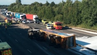 M11 in Essex closed for 18 hours after chemical spill from lorry