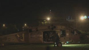 The soldiers were airlifted to hospital by a military helicopter.