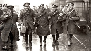 British troops coming home for Christmas leave in December 1916