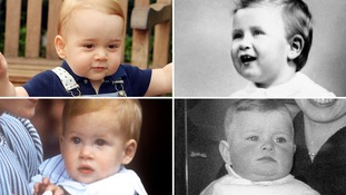 Prince George, top left, and three other royal babies on their first birthdays.