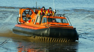 The RNLI's first Hovercraft, the'Hurley Flyer' patrols mudflats off the coast of Morecambe Bay