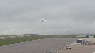 Plane taking off from Bristol Airport