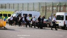 Specially trained guards prepare to go into Ranby prison to quell trouble