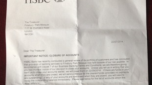 Letter sent from HSBC to Finsbury Park mosque