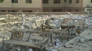 Damaged chairs, debris and rubble at the university in Gaza.