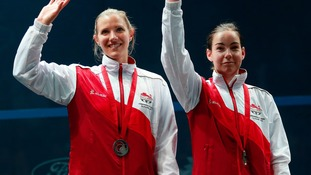 Laura Massaro (L) and Jenny Duncalf (R) collect their silver medals.