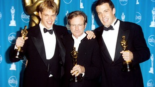 Matt Damon, Robin Williams and Ben Affleck win Academy Awards for Good Will Hunting.