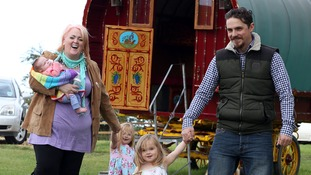 Carol Hopkinson and Karl Wragg with three of their five children who inspired their business