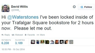 US tourist took to Twitter to appeal for freedom from the bookstore