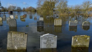 A graveyard in Somerset was left partially submerged by severe flooding during heavy storms earlier this year.