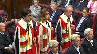 Baroness Brady flanked by Lord Sugar and Conservative Party co-chairman Lord Feldman of Elstree
