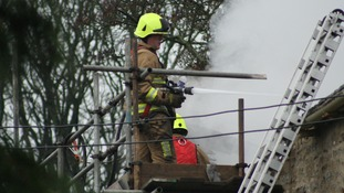 Fire crews battled to stop the fire spreading to neighbouring homes.