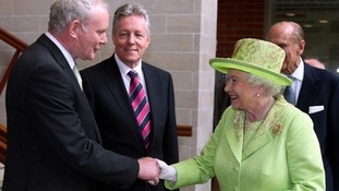 The Queen publicly shakes hands with Martin McGuinness