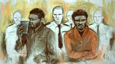 Court artist sketch by Elizabeth Cook of of Michael Adebowale and Michael Adebolajo as they were found guilty of the murder of Fusilier Lee Rigby.