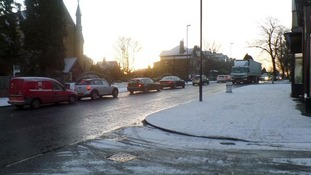 Traffic in the snow.