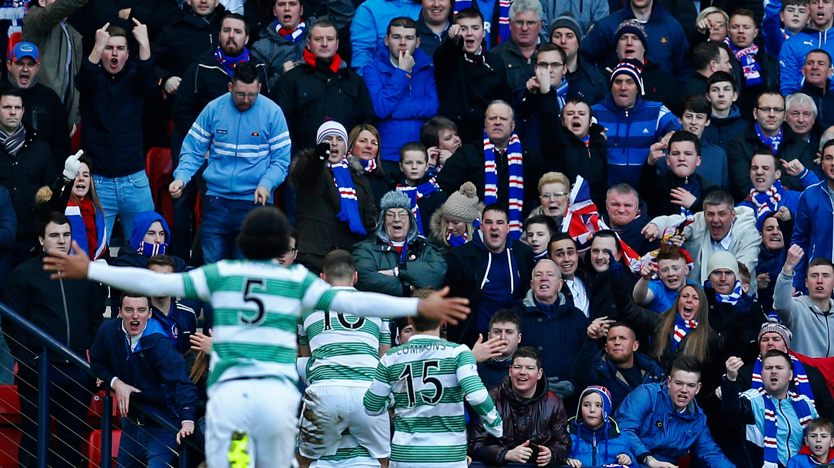 Celtic Players Celebrate In Front Of Rangers Fans Itv News