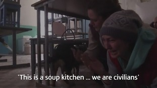 Locals claim the community soup kitchen was shelled by the Ukrainian army.