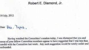 Bob Diamond's letter to the Treasury Select Committee.