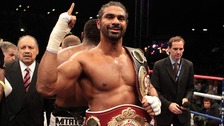 David Haye with the WBA and WBO International Heavyweight Championship belts after beating Dereck Chisora at Upton Park, London.