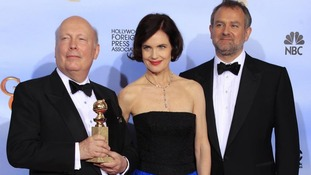 "Writer-producer Julian Fellowes (L) from ""Downton Abbey"", alongside cast members."