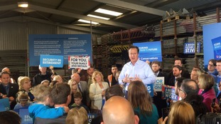 The Prime Minister talks to supporters at a scaffolding yard in Penzance today.