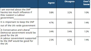 Nearly half of voters polled said it was important to keep the SNP out of government.