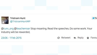 Tristram Hunt caused some controversy with this tweet