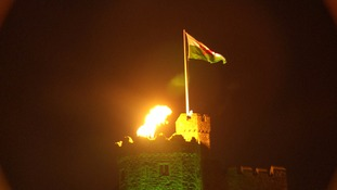 VE Day flame at Cardiff Castle