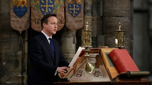 David Cameron reads at Westminster Abbey