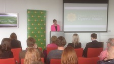 Leanne Wood speaking at the University of South Wales