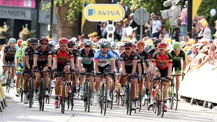 Mark Cavendish (centre) and the trailing pack during Stage Two of the Tour of Britain.