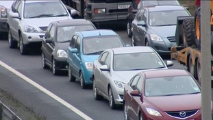Traffic jam on the A14