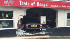 Car crashed into takeaway