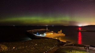 The Northern Lights could be seen over Whitehaven Harbour