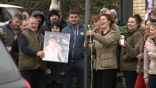 Jessie Smith's family celebrate outside Cambridge Crown Court.