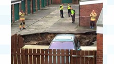 The sinkhole was reported to the police by a local resident.