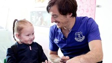 Everton's Leighton Baines at Alder Hey.