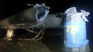 A damaged pylon in the Kherson region of Ukraine