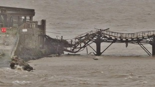 The walkway has fallen into the Bristol Channel