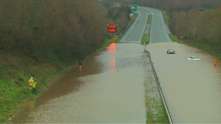 Flooding on A55