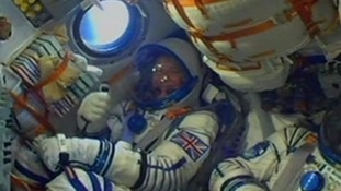 Major Tim Peake gave the thumbs up as he blasted off into space last year.