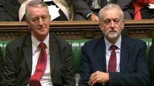 Hilary Benn and Jeremy Corbyn (right)