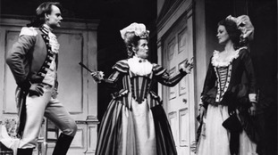 Samantha Bond performing in the 'The Rivals' in 1986 opposite the actor Martin Clunes.