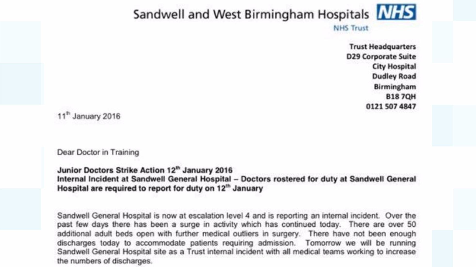 Junior Doctors At Sandwell Required To Work