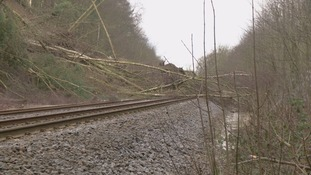 Landslide on the rail line between Hexham and Carlisle